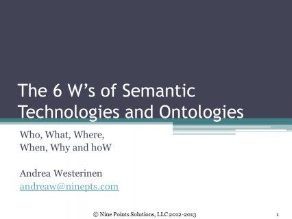Slide 1 The 6 W s of Semantic