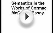 How To Write Semantics in the Works of Cormac McCarthy